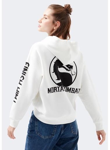 Mavi Mortal Kombat Baskılı Sweatshirt Beyaz
